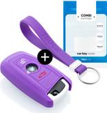 TBU car TBU car Autoschlüssel Hülle kompatibel mit BMW 3 Tasten (Keyless Entry) - Schutzhülle aus Silikon - Auto Schlüsselhülle Cover in Violett