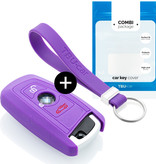 TBU car TBU car Car key cover compatible with BMW - Silicone Protective Remote Key Shell - FOB Case Cover - Purple