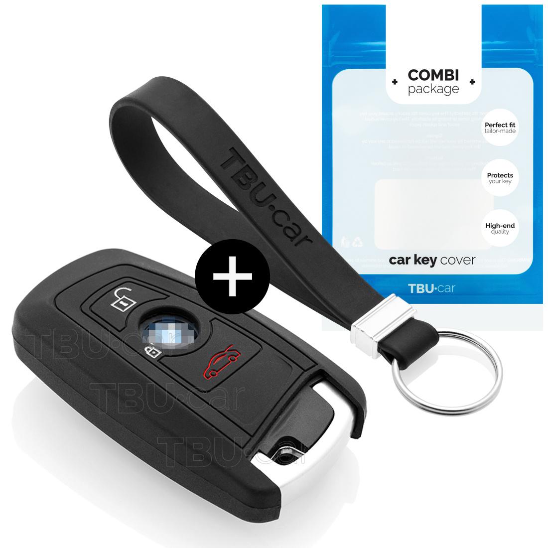 TBU car Autoschlüssel Hülle für BMW 3 Tasten (Keyless Entry) - Schutzhülle aus Silikon - Auto Schlüsselhülle Cover in Schwarz
