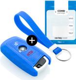 BMW Autoschlüssel Hülle - Silikon Schutzhülle - Schlüsselhülle Cover - Blau
