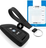 TBU car TBU car Car key cover compatible with BMW - Silicone Protective Remote Key Shell - FOB Case Cover - Black
