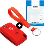 TBU car TBU car Autoschlüssel Hülle kompatibel mit Citroën 2 Tasten - Schutzhülle aus Silikon - Auto Schlüsselhülle Cover in Rot
