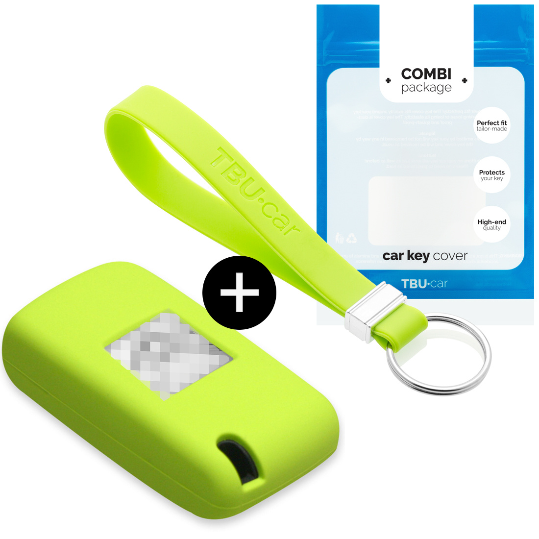 TBU car TBU car Car key cover compatible with Citroën - Silicone Protective Remote Key Shell - FOB Case Cover - Lime green