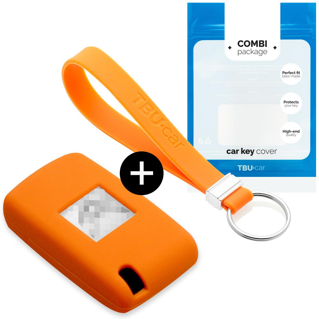 TBU car TBU car Autoschlüssel Hülle kompatibel mit Citroën 3 Tasten - Schutzhülle aus Silikon - Auto Schlüsselhülle Cover in Orange
