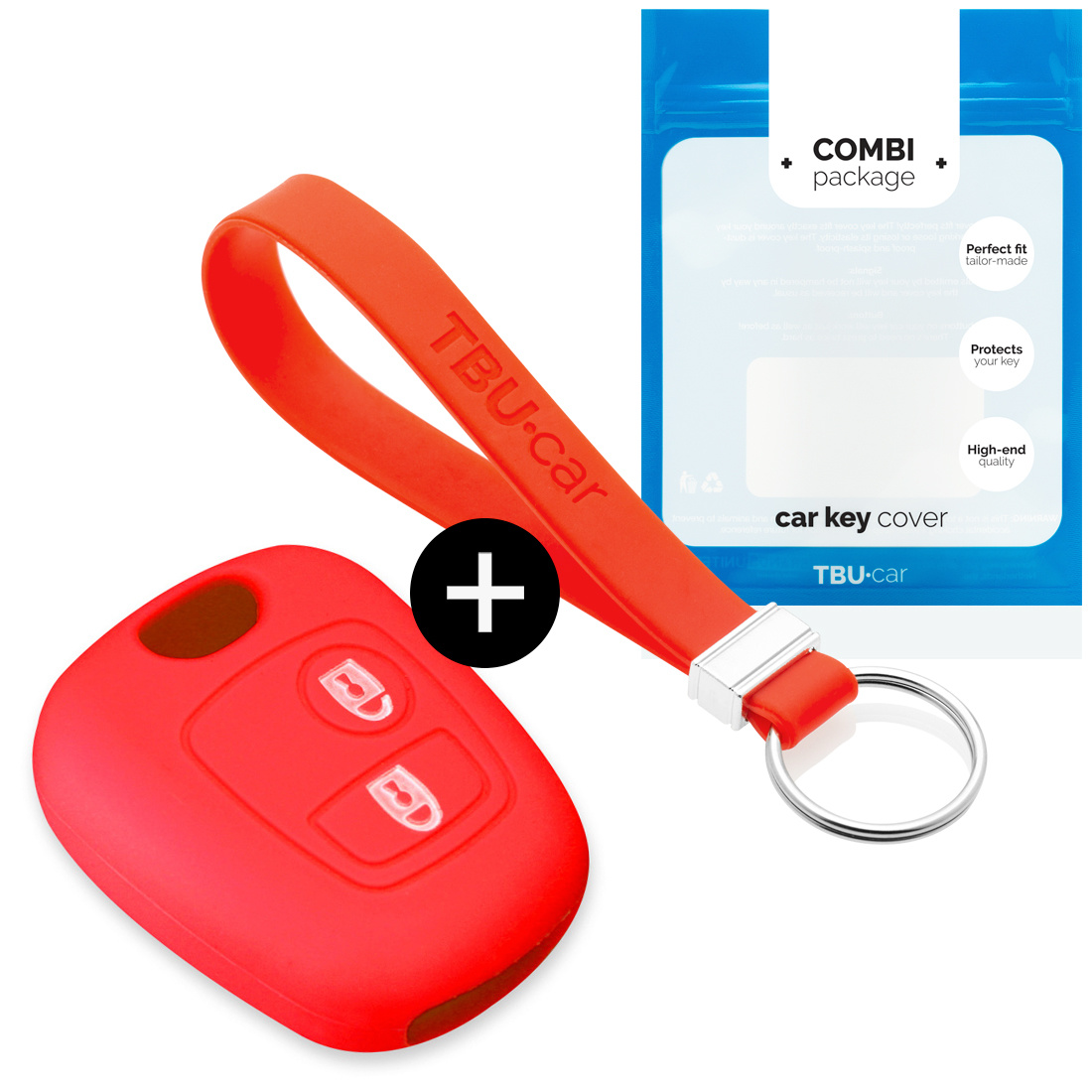 TBU·CAR Citroën Car key cover - Silicone Protective Remote Key Shell - FOB Case Cover - Red