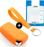TBU car TBU car Autoschlüssel Hülle kompatibel mit Citroën 2 Tasten - Schutzhülle aus Silikon - Auto Schlüsselhülle Cover in Orange