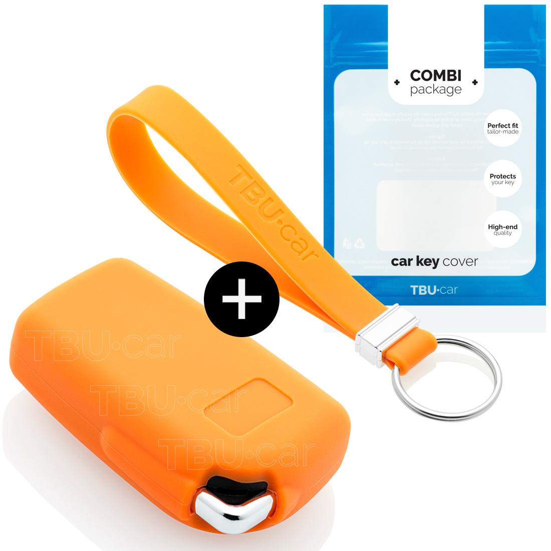 TBU car Autoschlüssel Hülle für Citroën 2 Tasten - Schutzhülle aus Silikon - Auto Schlüsselhülle Cover in Orange
