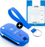 TBU car Autoschlüssel Hülle für Citroën 3 Tasten - Schutzhülle aus Silikon - Auto Schlüsselhülle Cover in Blau