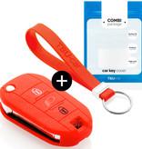TBU car Autoschlüssel Hülle für Citroën 3 Tasten (Licht Taste) - Schutzhülle aus Silikon - Auto Schlüsselhülle Cover in Rot