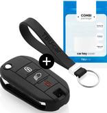 TBU car Autoschlüssel Hülle für Citroën 3 Tasten (Licht Taste) - Schutzhülle aus Silikon - Auto Schlüsselhülle Cover in Schwarz