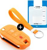 TBU car Autoschlüssel Hülle für Citroën 3 Tasten (Licht Taste) - Schutzhülle aus Silikon - Auto Schlüsselhülle Cover in Orange