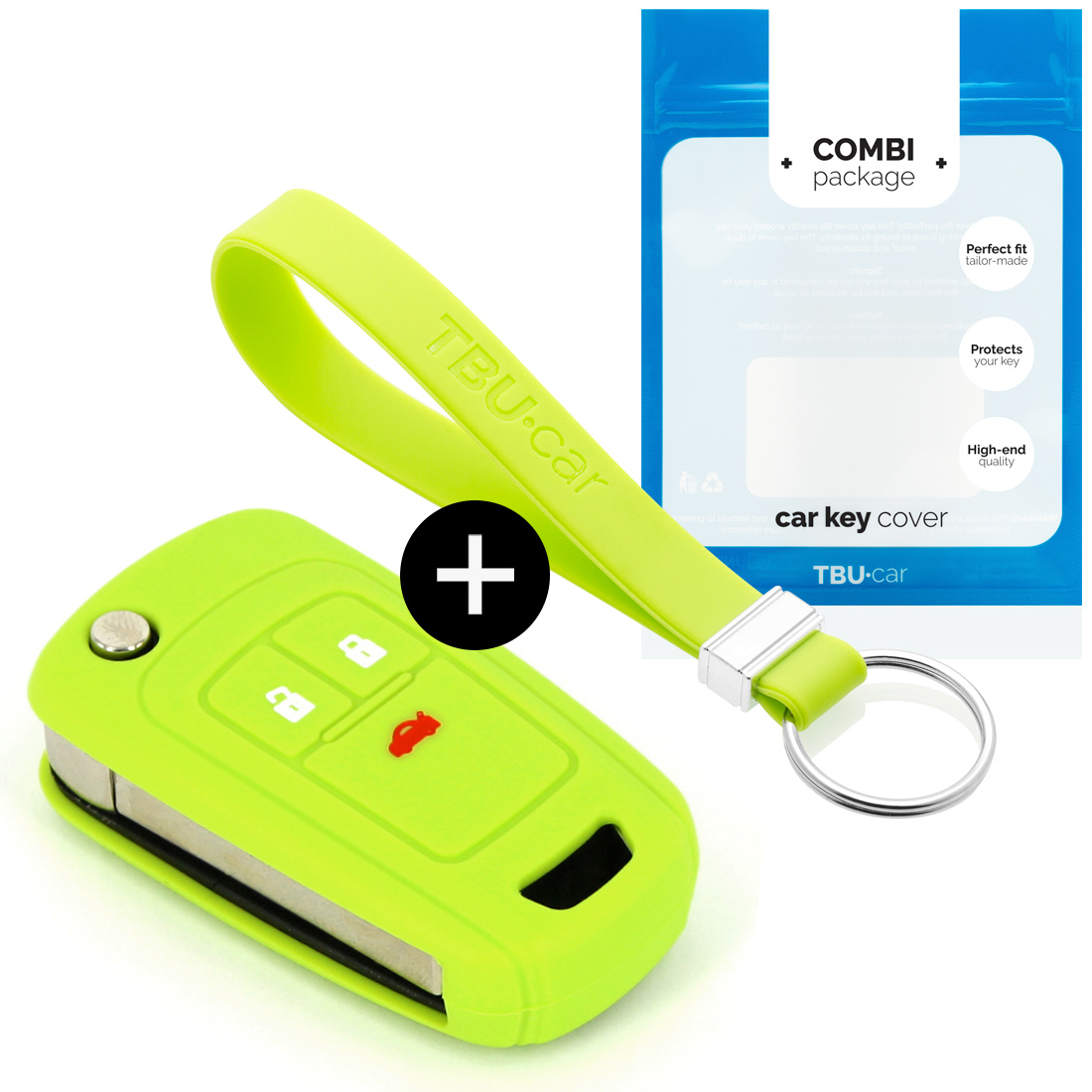 Chevrolet Car key cover - Silicone Protective Remote Key Shell - FOB Case Cover - Lime