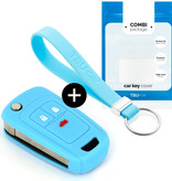 Chevrolet Car key cover - Silicone Protective Remote Key Shell - FOB Case Cover - Light Blue
