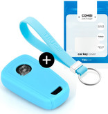 TBU car TBU car Car key cover compatible with Chevrolet - Silicone Protective Remote Key Shell - FOB Case Cover - Light Blue
