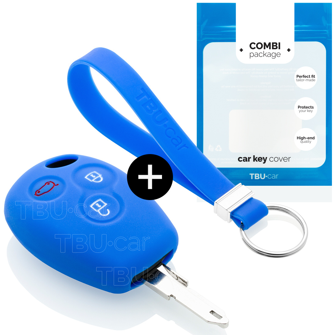 TBU car TBU car Autoschlüssel Hülle kompatibel mit Dacia 3 Tasten - Schutzhülle aus Silikon - Auto Schlüsselhülle Cover in Blau