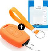 TBU car TBU car Autoschlüssel Hülle kompatibel mit Dacia 2 Tasten - Schutzhülle aus Silikon - Auto Schlüsselhülle Cover in Orange