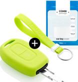 TBU car TBU car Car key cover compatible with Dacia - Silicone Protective Remote Key Shell - FOB Case Cover - Lime green