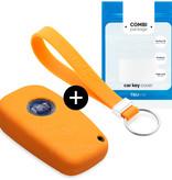 TBU·CAR Fiat Car key cover - Silicone Protective Remote Key Shell - FOB Case Cover - Orange