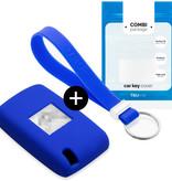 Fiat Autoschlüssel Hülle - Silikon Schutzhülle - Schlüsselhülle Cover - Blau