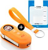 TBU car TBU car Autoschlüssel Hülle kompatibel mit Fiat 3 Tasten - Schutzhülle aus Silikon - Auto Schlüsselhülle Cover in Orange