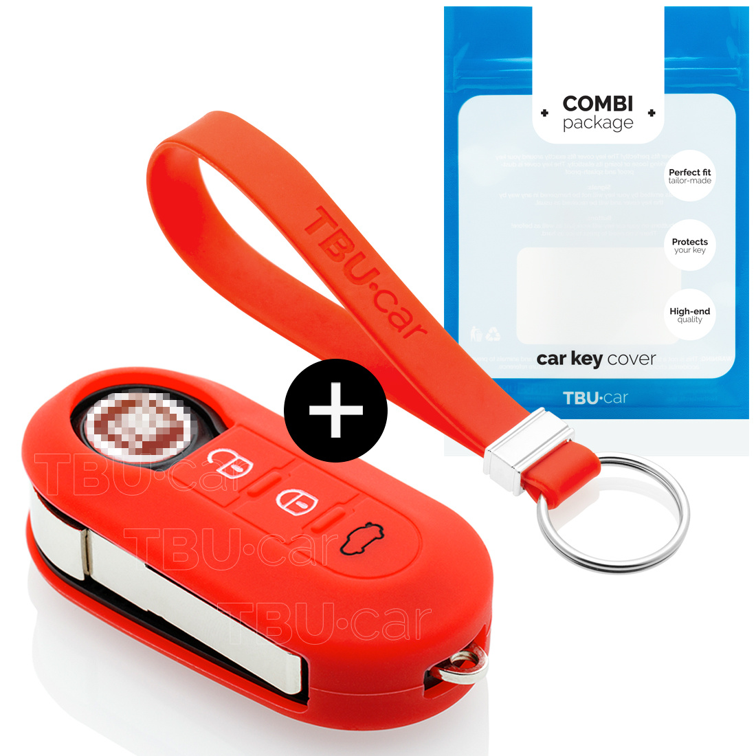Fiat Car key cover - Silicone Protective Remote Key Shell - FOB Case Cover - Red
