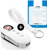 Fiat Car key cover - Silicone Protective Remote Key Shell - FOB Case Cover - White