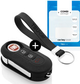 Fiat Car key cover - Silicone Protective Remote Key Shell - FOB Case Cover - Black