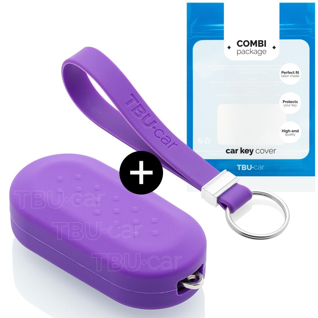 TBU car TBU car Autoschlüssel Hülle kompatibel mit Fiat 3 Tasten - Schutzhülle aus Silikon - Auto Schlüsselhülle Cover in Violett