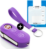 Fiat Car key cover - Silicone Protective Remote Key Shell - FOB Case Cover - Purple (Hearts)