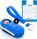 TBU·CAR Fiat Car key cover - Silicone Protective Remote Key Shell - FOB Case Cover - Blue