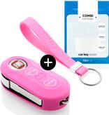 Fiat Autoschlüssel Hülle - Silikon Schutzhülle - Schlüsselhülle Cover - Pink (Herzen)