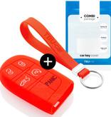 TBU car TBU car Autoschlüssel Hülle kompatibel mit Fiat 5 Tasten (Keyless Entry) - Schutzhülle aus Silikon - Auto Schlüsselhülle Cover in Rot