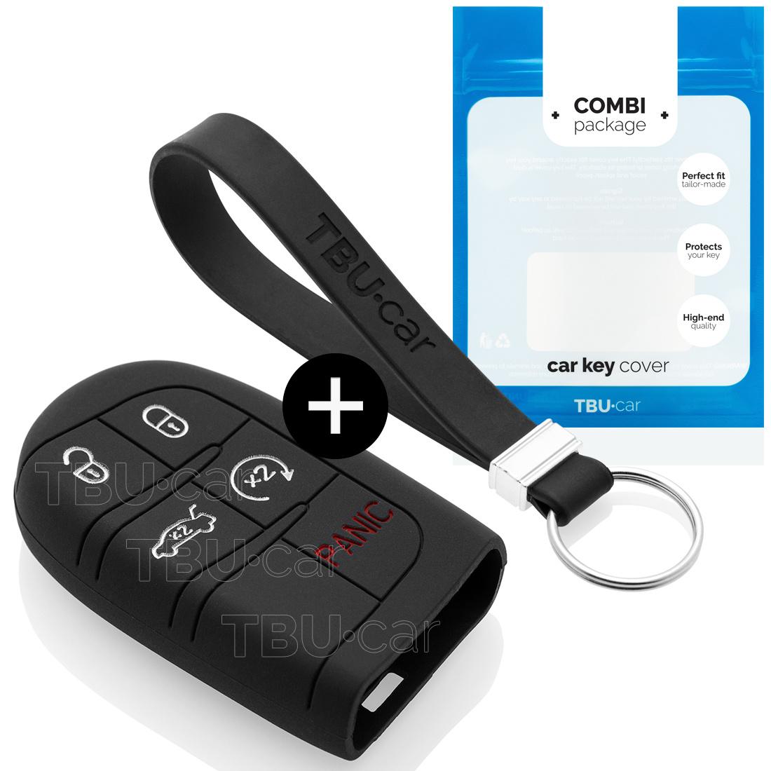 Fiat Autoschlüssel Hülle - Silikon Schutzhülle - Schlüsselhülle Cover - Schwarz