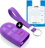 TBU car TBU car Autoschlüssel Hülle kompatibel mit Fiat 5 Tasten (Keyless Entry) - Schutzhülle aus Silikon - Auto Schlüsselhülle Cover in Violett