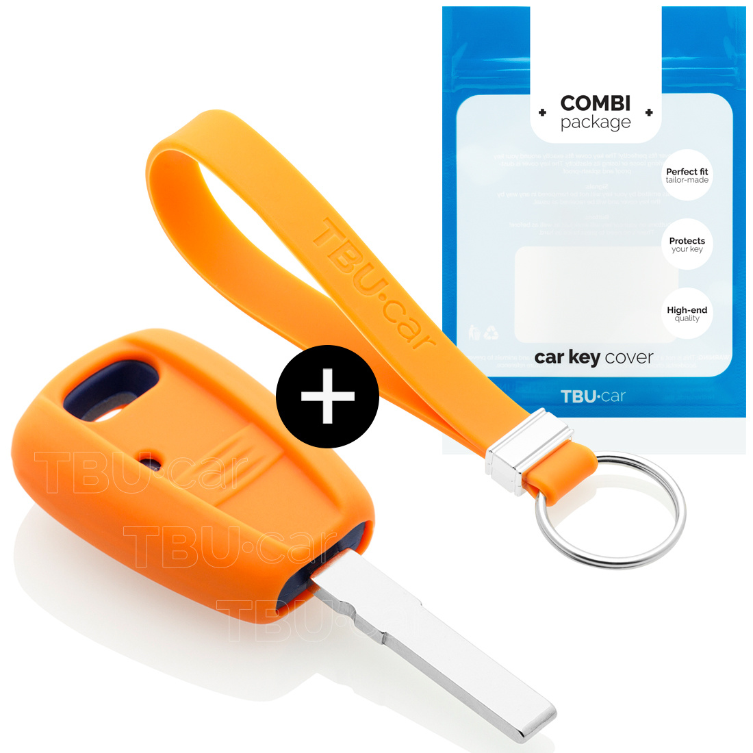 TBU car Autoschlüssel Hülle für Fiat 1 Taste - Schutzhülle aus Silikon - Auto Schlüsselhülle Cover in Orange