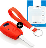 TBU car TBU car Autoschlüssel Hülle kompatibel mit Fiat 1 Taste - Schutzhülle aus Silikon - Auto Schlüsselhülle Cover in Rot