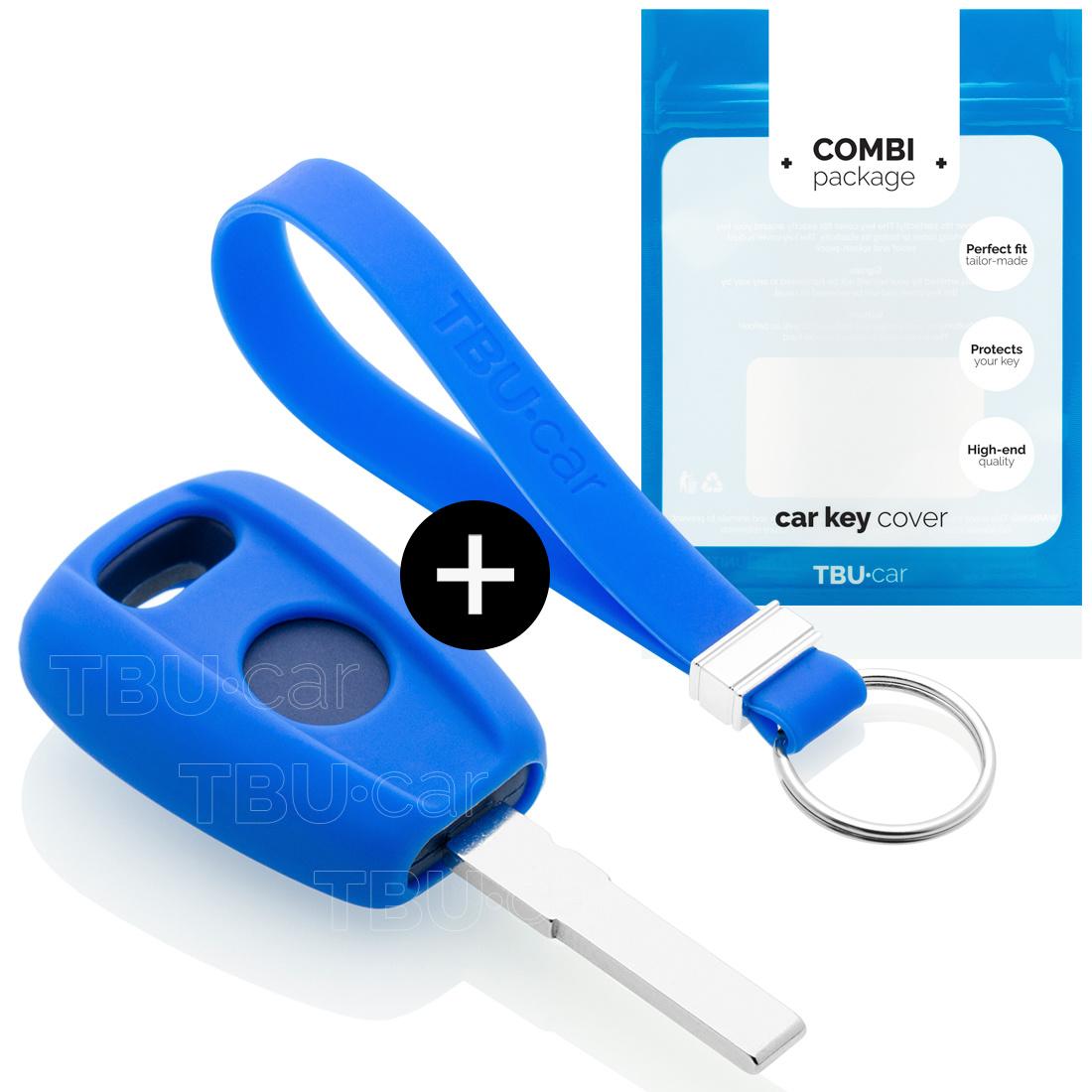 TBU car TBU car Autoschlüssel Hülle kompatibel mit Fiat 1 Taste - Schutzhülle aus Silikon - Auto Schlüsselhülle Cover in Blau