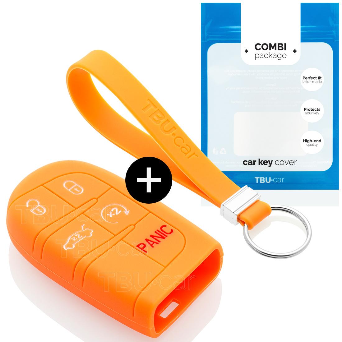 TBU car TBU car Sleutel cover compatibel met Jeep - Silicone sleutelhoesje - beschermhoesje autosleutel - Oranje