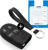 TBU car TBU car Sleutel cover compatibel met Jeep - Silicone sleutelhoesje - beschermhoesje autosleutel - Zwart