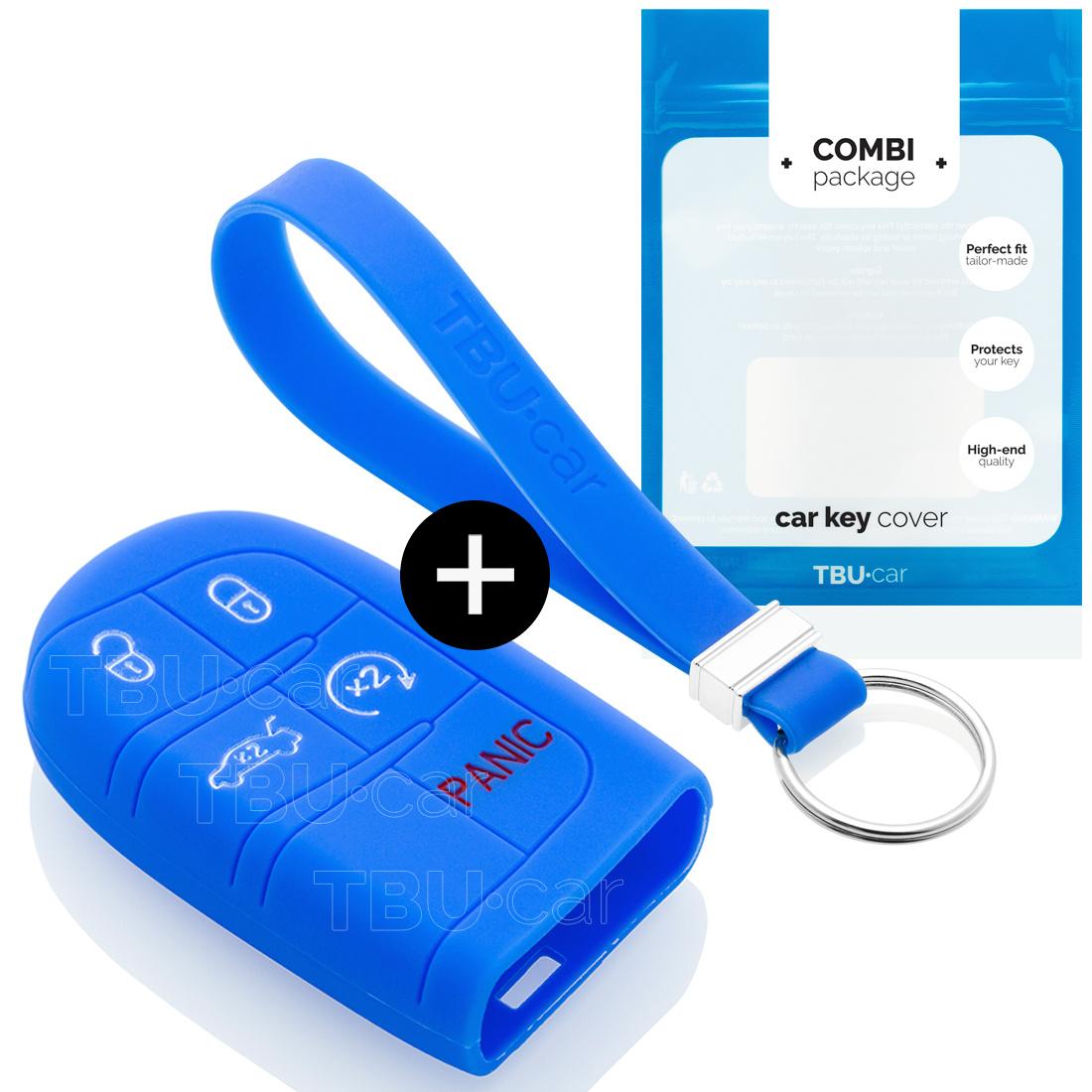 TBU car TBU car Autoschlüssel Hülle kompatibel mit Jeep 5 Tasten (Keyless Entry) - Schutzhülle aus Silikon - Auto Schlüsselhülle Cover in Blau