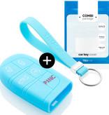 TBU car TBU car Sleutel cover compatibel met Jeep - Silicone sleutelhoesje - beschermhoesje autosleutel - Lichtblauw