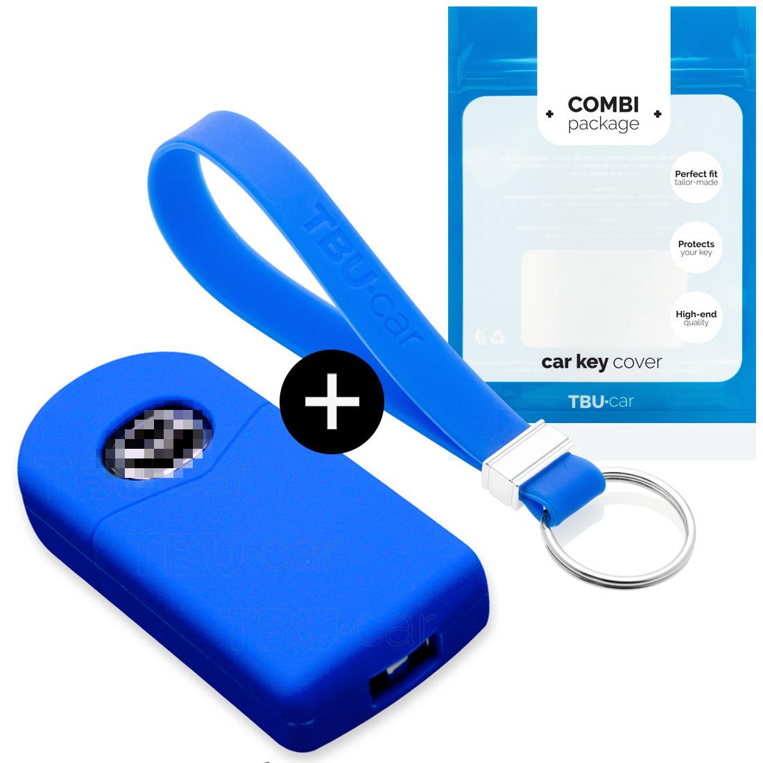 TBU car TBU car Autoschlüssel Hülle kompatibel mit Mazda 2 Tasten - Schutzhülle aus Silikon - Auto Schlüsselhülle Cover in Blau