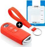 TBU car TBU car Autoschlüssel Hülle kompatibel mit Mazda 2 Tasten (Keyless Entry) - Schutzhülle aus Silikon - Auto Schlüsselhülle Cover in Rot