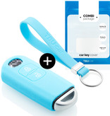 TBU car TBU car Sleutel cover compatibel met Mazda - Silicone sleutelhoesje - beschermhoesje autosleutel - Lichtblauw