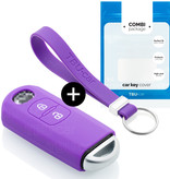 Mazda Car key cover - Silicone Protective Remote Key Shell - FOB Case Cover - Purple