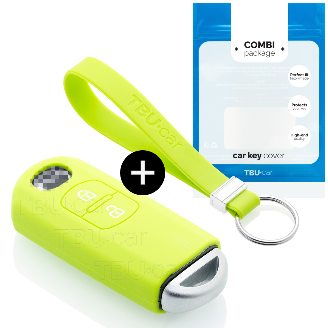 TBU car TBU car Sleutel cover compatibel met Mazda - Silicone sleutelhoesje - beschermhoesje autosleutel - Lime groen