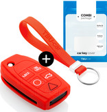 TBU car TBUCAR Autoschlüssel Hülle kompatibel mit Volvo 5 Tasten - Schutzhülle aus Silikon - Auto Schlüsselhülle Cover in Rot