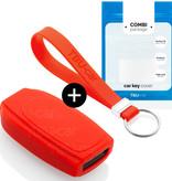 TBU car TBU car Autoschlüssel Hülle kompatibel mit Volvo 5 Tasten - Schutzhülle aus Silikon - Auto Schlüsselhülle Cover in Rot