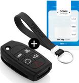 TBU car Autoschlüssel Hülle für Volvo 5 Tasten - Schutzhülle aus Silikon - Auto Schlüsselhülle Cover in Schwarz