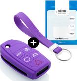 Volvo Autoschlüssel Hülle - Silikon Schutzhülle - Schlüsselhülle Cover - Violett